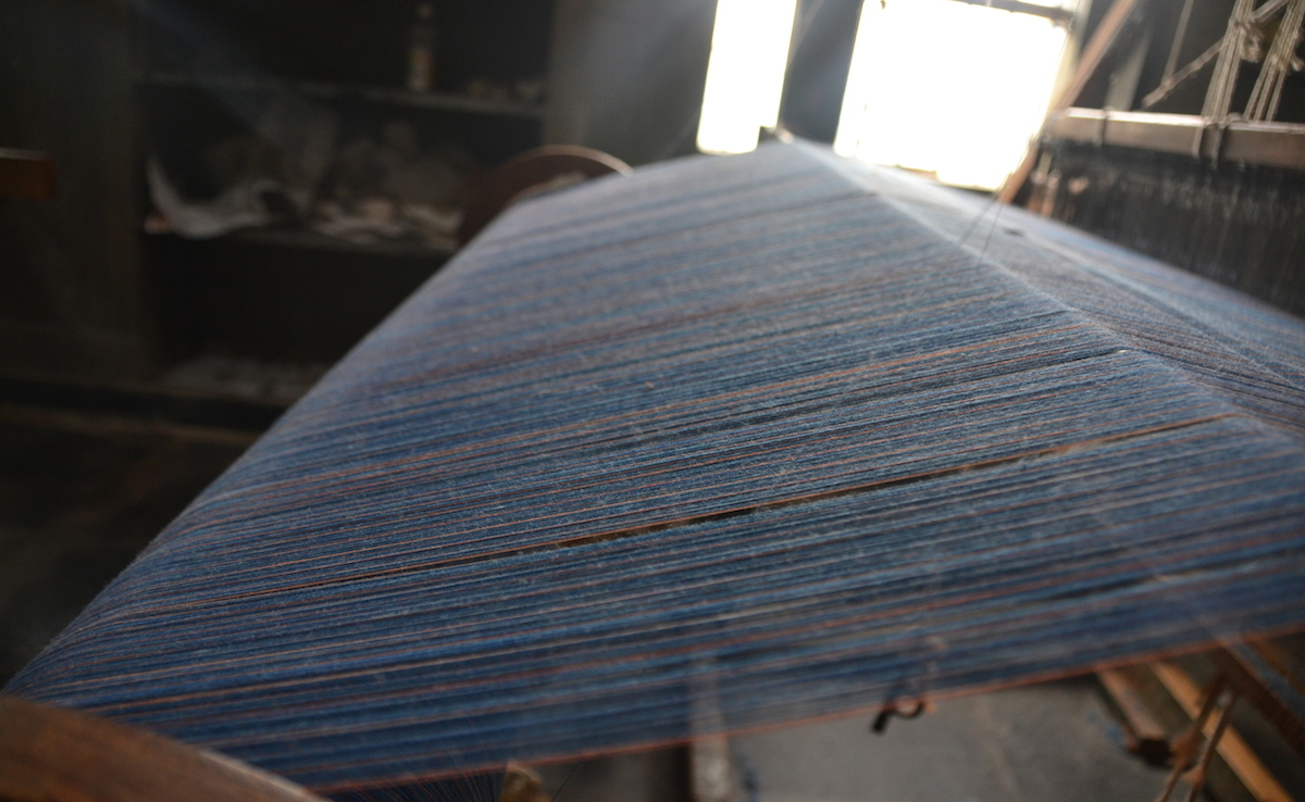 Khadi yarn on a loom